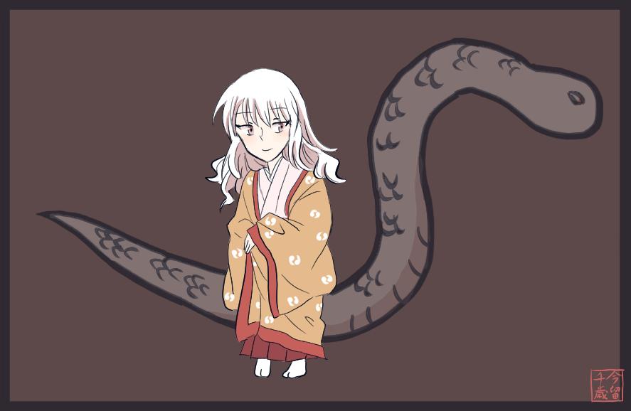 着物女童イラスト「白蛇の娘」白子