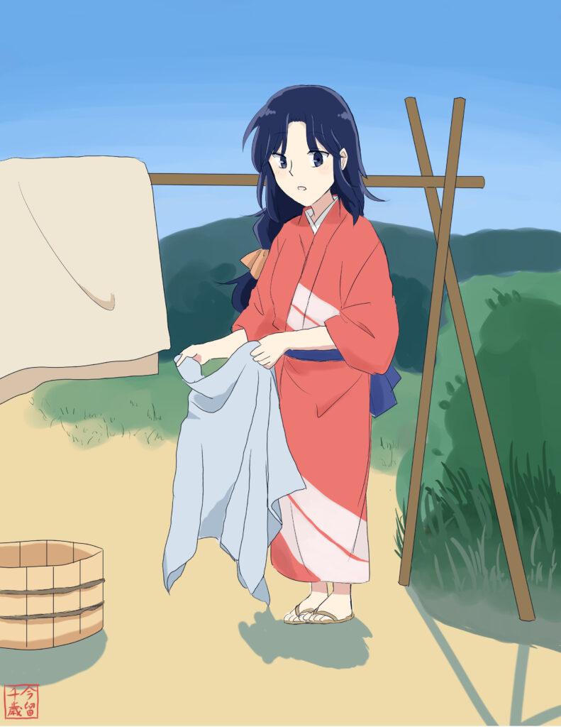 着物女子イラスト「洗濯日和」水瀬
